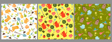 Set Of Garden Seamless Pattern...