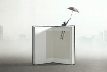 Man Flying Out Of A Book; Surr...