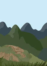 Flat Illustration. Awesome Nature View On Green Valley, Lima. Enjoy The Travel. Around The World. Quality Vector Poster. Peru.