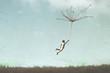 Leinwandbild Motiv surreal man flying free in the sky