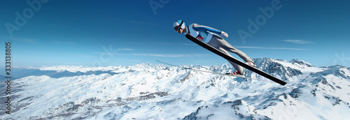 Valokuva Ski jumping over the mountain slope with blue sky