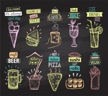 Chalkboard Menus Set With Ice ...