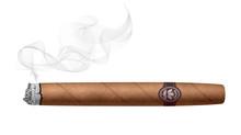 Realistic Smoking Cigar Isolated On White Background