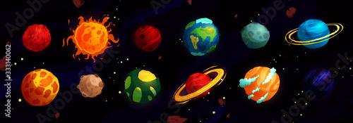 Cartoon planets vector cute set. Space objects - sun, moon, mars, mercury, earth. Fantasy planets.