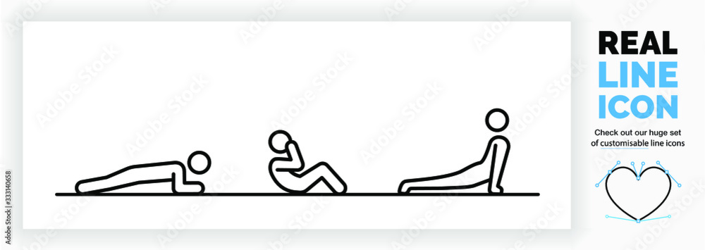 Fototapeta Editable real line icon of a stick figure person staying fit at home by doing exercises for muscle and cardio working on core body strength in modern black lines on a clean white background as eps