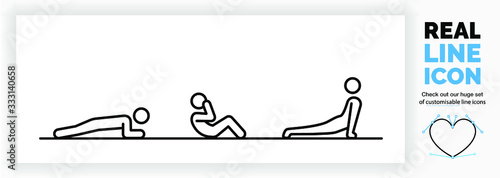 Cuadros en Lienzo Editable real line icon of a stick figure person staying fit at home by doing ex