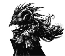A Shaman Woman In An Unusual Iron Helmet With Horns, Her Face Dramatically Hidden In Shadow, On Her Shoulders A Cloak With Bird Wings And Flowers. Her Hair Flutters In The Wind. 2D Illustration