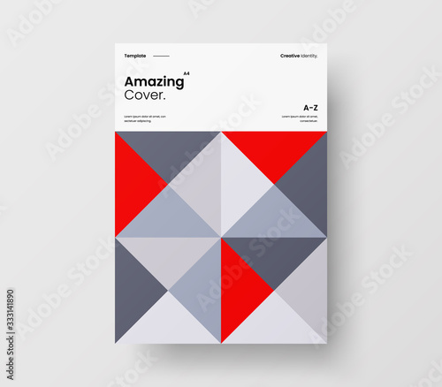 Amazing business presentation vector A4 vertical orientation front page mock up. Modern corporate report cover abstract geometric illustration design layout. Company identity brochure template. Wall mural