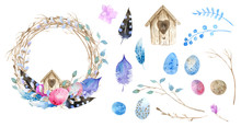 Watercolor Set Of Easter Wreath With Easter Eggs, Birdhouse, Feathers, Spring Twigs And Pink Flowers On A White Background. Easter Eggs With Circle Decorations With Watercolor Dots.