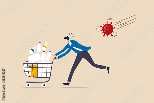 Fotomural Panic buy in COVID-19 Coronavirus outbreak crisis, people hoarding on curfew and lockdown concept, panic man running in fear with full of goods, medicine, tissues in shopping cart with virus pathogen