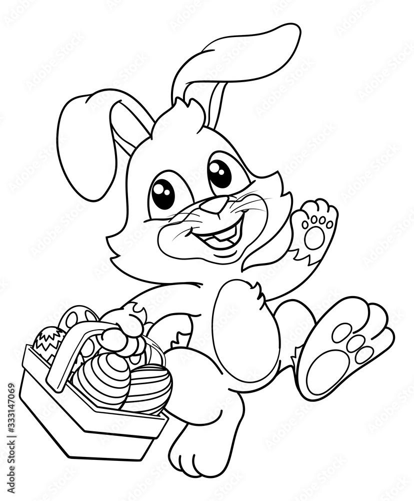 Fototapeta Easter bunny rabbit cartoon character holding a basket full of painted Easter eggs. In black and white outline