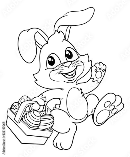 Obraz Easter bunny rabbit cartoon character holding a basket full of painted Easter eggs. In black and white outline - fototapety do salonu