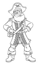 A Friendly Pirate Cartoon Character Captain Mascot With Skull And Crossed Bones On His Tricorne Hat, Eye Patch And Hands On Hips