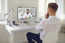 Online Doctor.A Man Talking To...