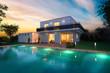 Leinwandbild Motiv Maison d'architecte moderne ambiance nuit avec piscine