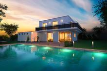 Maison D'architecte Moderne Ambiance Nuit Avec Piscine