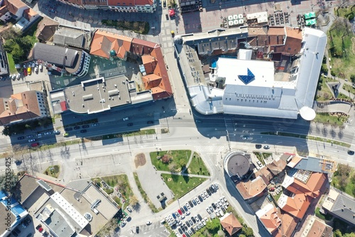 Aerial drone photo from sky of Brcko district center Bosnia Canvas Print
