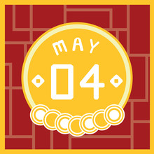 May 4, Calendar Icon Illustration Isolated Sign Symbol, Sale Promotion.
