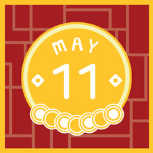 May 11, Calendar Icon Illustration Isolated Sign Symbol, Sale Promotion.