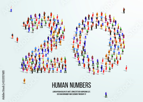 large group of people form to create number twenty 20 Poster Mural XXL