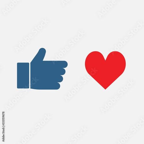 Fotografía like and heart button vector iocn social media