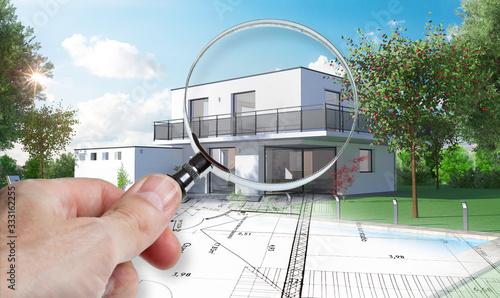 Photo Esquisse d'une maison d'architecte en construction avec plan