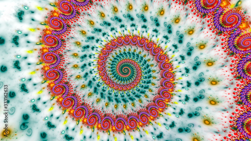 Cuadros en Lienzo Multicolored psychedelic spiral abstract background