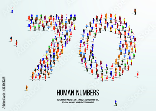 Papel de parede large group of people form to create number seventy 70