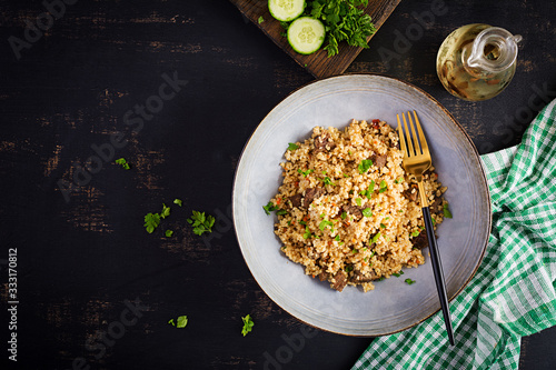 Fotografie, Obraz Bulgur pilaf with meat and and vegetables