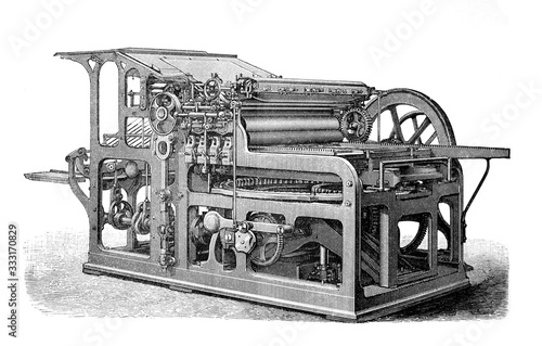 Antique printing press / automatic cylinder / Old Antique illustration from Broc Fototapet