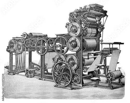 Antique automatic cylinder printing press / Old Antique illustration from Brockh Fototapeta