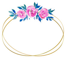 Golden Oval Frame With Pink Ro...