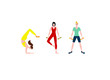 girls play sports. Flat vector illustration of women training in sports uniform and with sports equipment