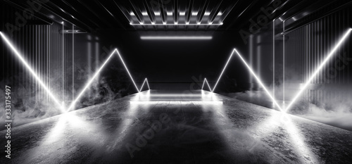 Sci Fi Futuristic Smoke Background Concrete Cement White Electric Neon Led Laser Fototapeta