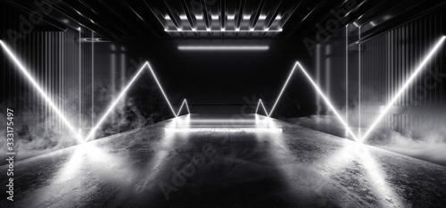 Obraz Sci Fi Futuristic Smoke Background Concrete Cement White Electric Neon Led Laser Glowing Lights Dark Night Studio Showcase Hallway Warehouse Stage Podium Cyber 3D Rendering - fototapety do salonu