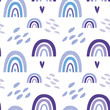 Semless pattern with cute nursery rainbows, shapes, scandinavian fun print. Purple colours. Creative kids texture for poster, fabric, wrapping, textile, wallpaper, apparel. Vector flat illustration