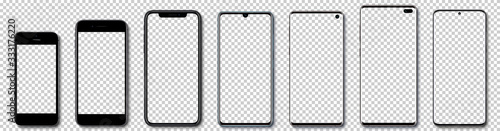 Fotografering Realistic models smartphone with transparent screens with shadow on transparent background