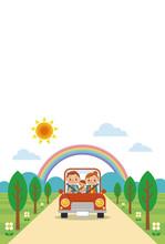 ドライブを楽しむ家族...