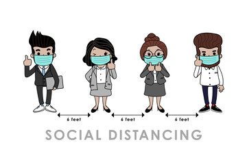COVID-19 and social distancing infographic with cute cartoon character. Business officer with surgical mask in flat style. Corona virus protection. -Vector