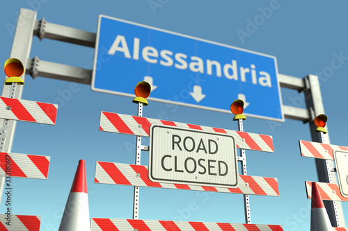 Roadblock near Alessandria city traffic sign Canvas Print