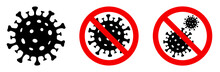 Coronavirus Icon Set. Covid 19. Virus Stop Sign. Vector