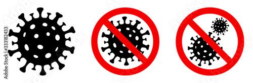 Foto Coronavirus icon set. Covid 19. Virus stop sign. Vector