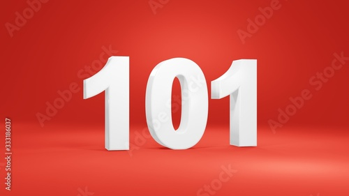 Number 101 in white on red background, isolated number 3d render Canvas Print