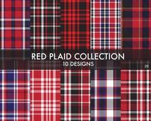 Red Plaid Tartan Checkered Sea...