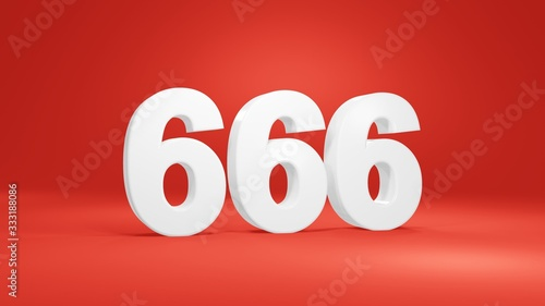 Number 666 in white on red background, isolated number 3d render Canvas Print