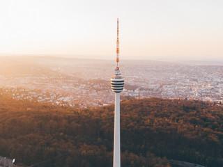 Aerial shot of the TV Tower in Stuttgart, Germany