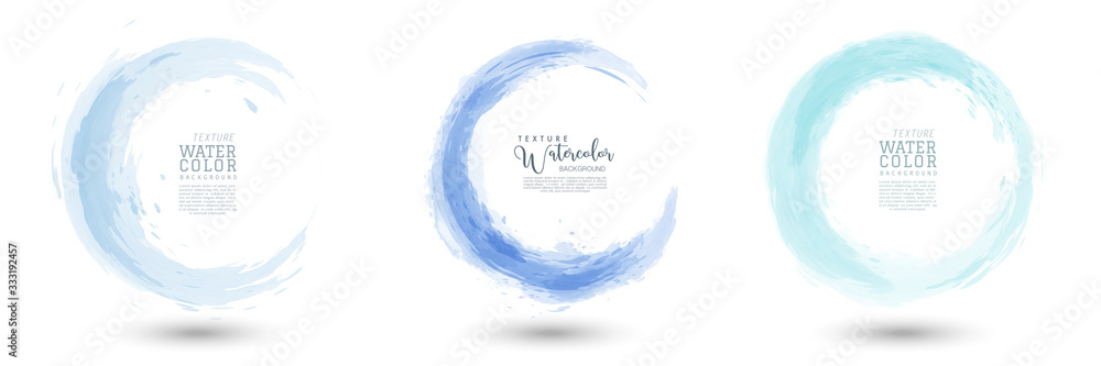 Fototapeta Circle splash with pastel blue watercolor set