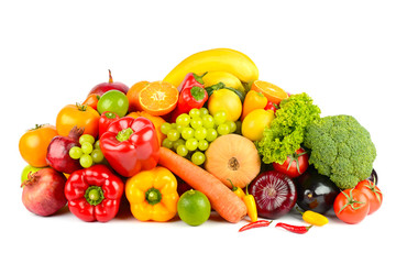 Big collection delicious wholesome fruits and vegetables isolated on white