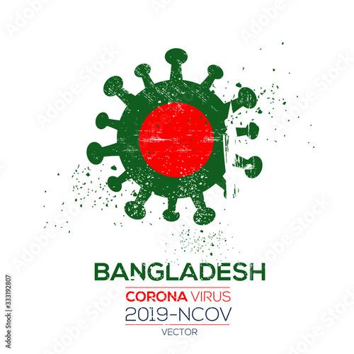 Bangladesh flag with corona virus Symbol, (2019-nCoV), vector illustration Wallpaper Mural