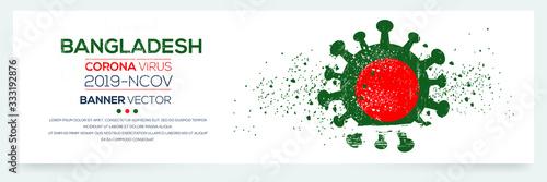 Bangladesh flag with corona virus Symbol, (2019-nCoV), vector illustration Canvas Print